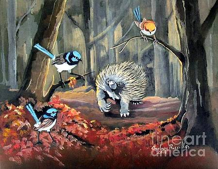 Fairy Wrens with an Echidna by Audrey Russill