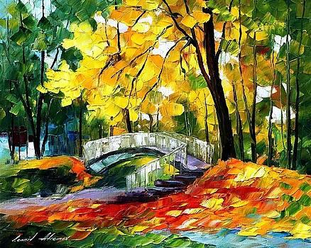Fall Bridge 2 - PALETTE KNIFE Oil Painting On Canvas By Leonid Afremov by Leonid Afremov