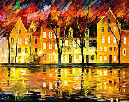 Fall In Germany - PALETTE KNIFE Oil Painting On Canvas By Leonid Afremov by Leonid Afremov