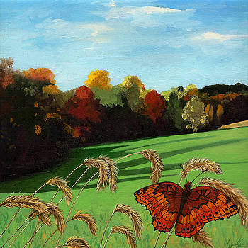 Fall scene of Ohio nature painting by Linda Apple