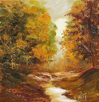 Fall woodland stream by Nita Leger Casey