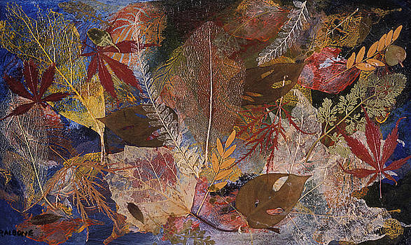 FALLEN TREASURES a collage of dried leaves by Phil Albone
