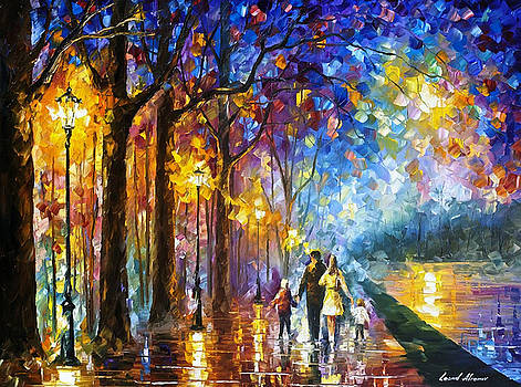 Family By The Lake - PALETTE KNIFE Oil Painting On Canvas By Leonid Afremov by Leonid Afremov