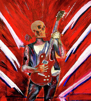 Fantasy heavy metal skull guitarist by Tom Conway