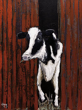 Farm Animal COW Painting Wall Art on Canvas Stretched Signed and Ready To Hang by Gray  Artus