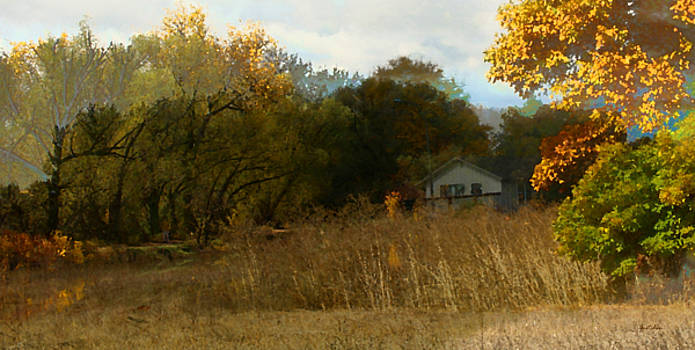 Farm House Nestled in Autumn Amber Field by Gretchen Wrede
