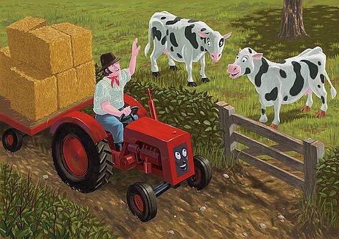 Martin Davey - farmer visiting cows in field