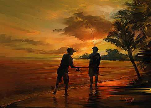 Father and son fishing by Rob Corsetti