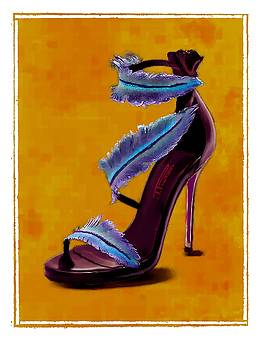 Feathered Evening shoe by Jann Paxton