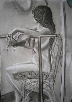 Female Model on Wicker Chair by Candace Barnett
