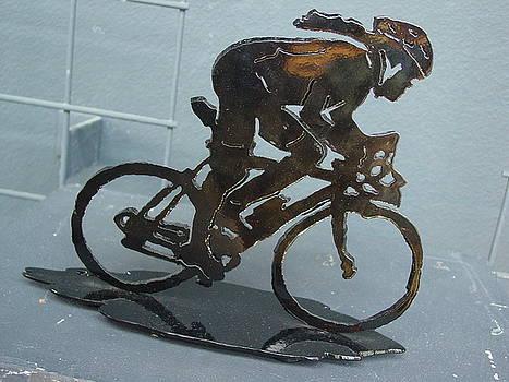 Female road racer by Steve Mudge