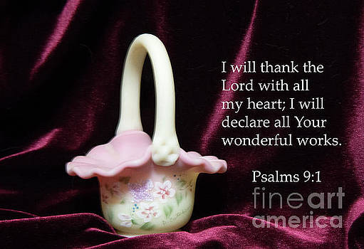 Fenton Art Glass Basket Psalms 9vs1 by Linda Phelps