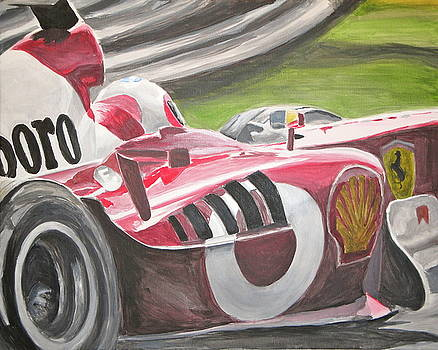 Ferrari F1 car at speed by James Lopez