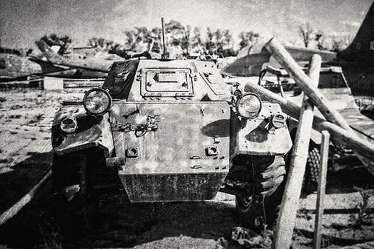 Ferret Armored Car in Black and White by Emily Kay