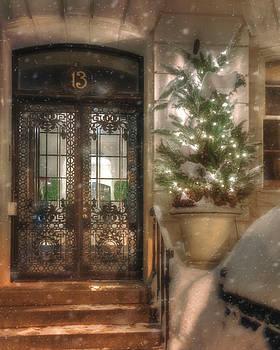 Festive Winter Doorway - Back Bay - Boston by Joann Vitali