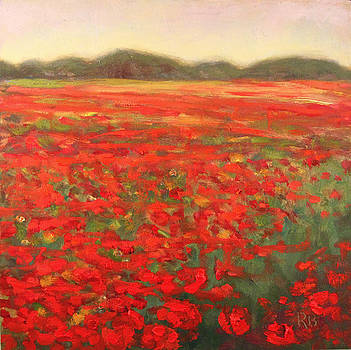 Field of Poppies Landscape by Robie Benve