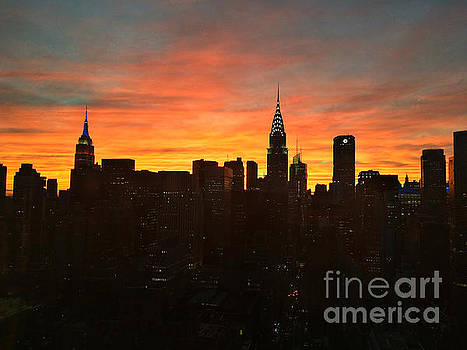 Fiery Sunset New York with Chrysler and Empire State Buildings by Miriam Danar