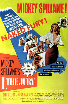 Film Noir Movie Poster Mickey Spillane I The Jury Naked Fury The Dynamite Thriller by R Muirhead Art