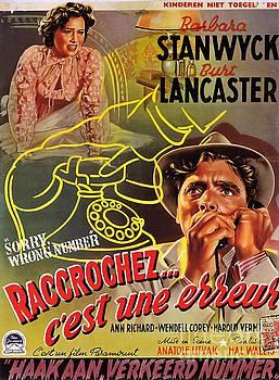 Film Noir Poster  Sorry Wrong Number Barbara Stanwyck Burt Lancaster  by R Muirhead Art