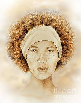 Fine Foxy Fashionable Freckled Faced Female with a Fro  by Jim Fitzpatrick