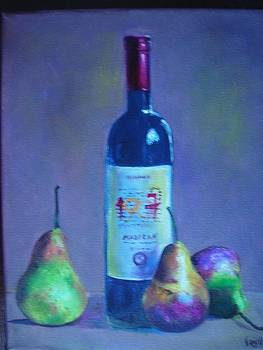 Fine wine paintings - A French Wine with Pears by Virgilla Lammons