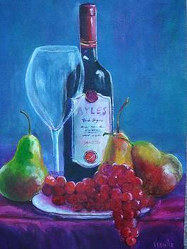 Fine Wine Paintings - A Spanish Wine with Fruit by Virgilla Lammons