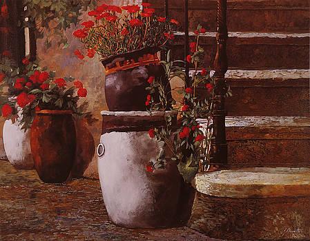 Fiori Rossi Nei Vasi by Guido Borelli