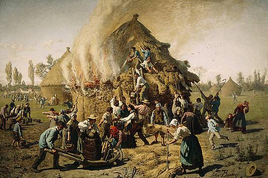 Jules Breton - Fire in a Haystack, 1856