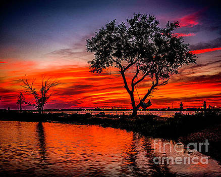 Firery Sunset over the River by Nick Zelinsky