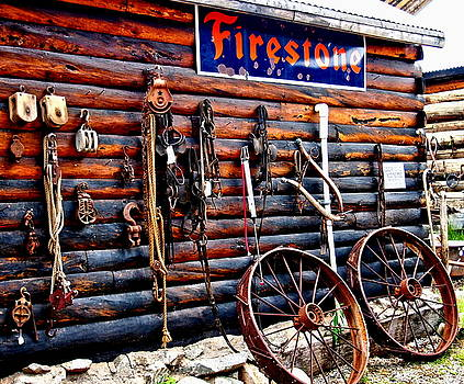 Firestone Sign and Rusty Parts by Amy McDaniel