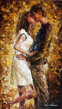 First Kiss - PALETTE KNIFE Oil Painting On Canvas By Leonid Afremov by Leonid Afremov