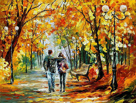 First Love - PALETTE KNIFE Oil Painting On Canvas By Leonid Afremov by Leonid Afremov