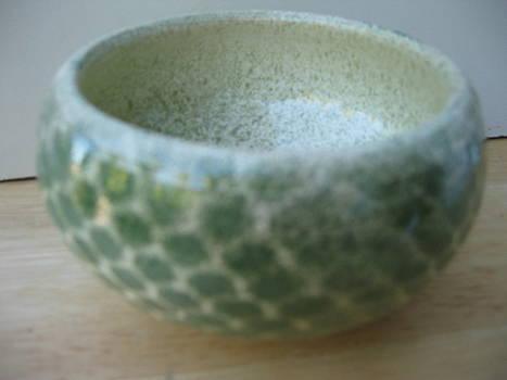 Fish net green bowl by Julia Van Dine