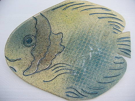 Fish Platter Blue And Yellow by Julia Van Dine