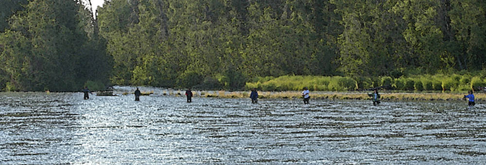 Fisherman Lineup Kenai River by Mary Gaines