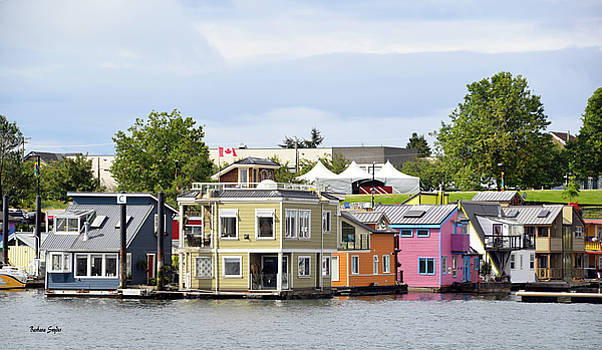 Fishermans Wharf Float Houses Victoria British Columbia Canada by Barbara Snyder