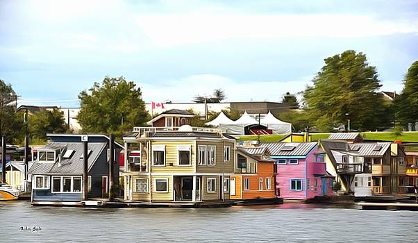 Fishermans Wharf Float Houses Victoria British Columbia Canada Painting by Barbara Snyder