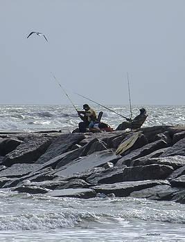Allen Sheffield - Fishermen with Seagull