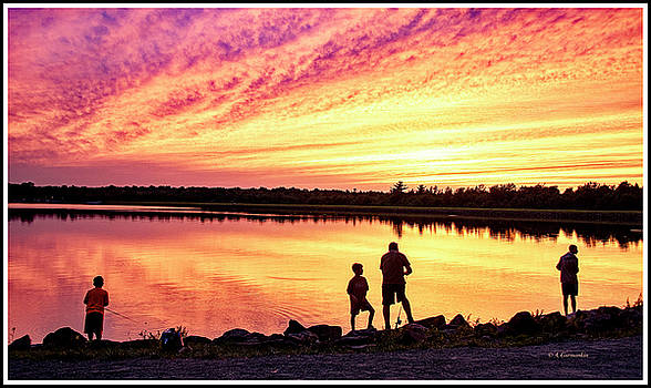 Fishing at Sunset, Silhouettes at a Lake Shore by A Gurmankin