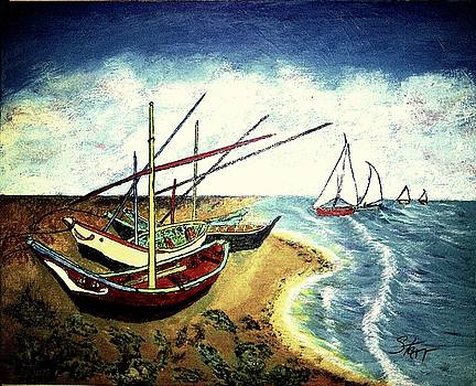 Fishing Boats On The Beach by Irving Starr