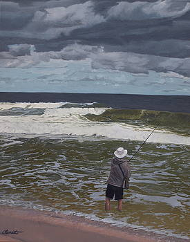Fishing the surf in Lavallette, New Jersey by Barbara Barber