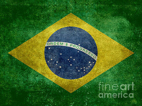 Flag of Brazil Vintage 18x24 crop version by Bruce Stanfield