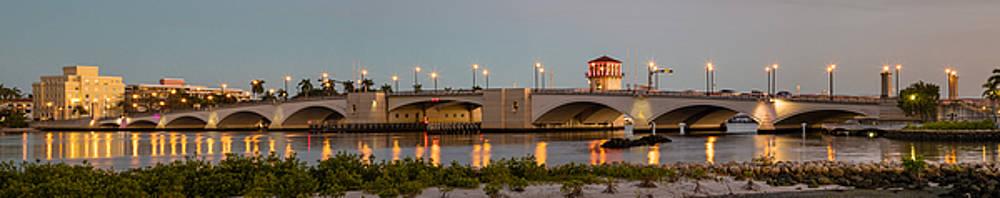Debra and Dave Vanderlaan - Flagler Bridge in Lights Panorama