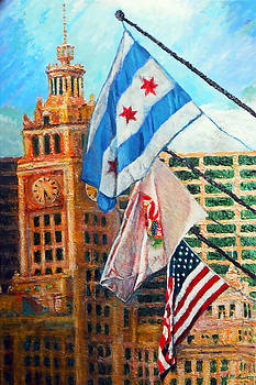 Flags Over Wrigley by Michael Durst