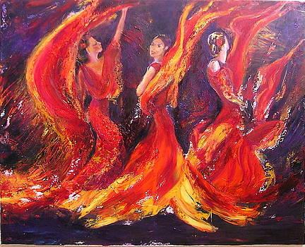 Flamenco fire dance by Sylva Zalmanson