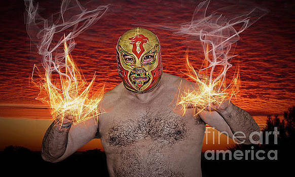 Flames Shooting from the Hands of Legendary Luchador the Chicano Flame  by Jim Fitzpatrick
