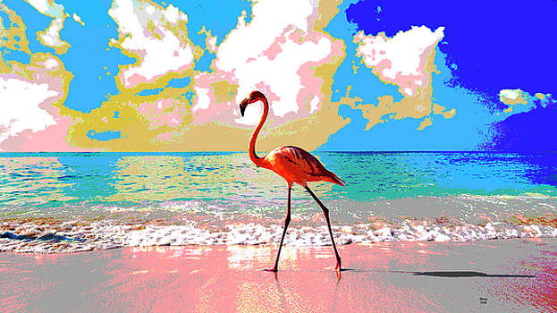 Flamingo At Sunset by Charles Shoup