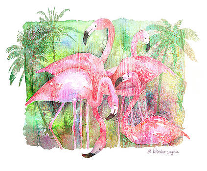 Flamingo Five by Arline Wagner
