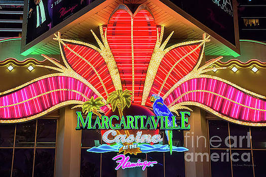 Flamingo Margaritaville Neon Sign at Night by Aloha Art