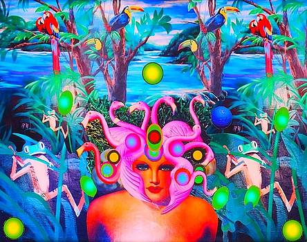 FlamingoDeusa in the Neon Jungle by Douglas Fromm